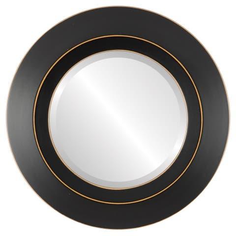 Veneto Framed Round Mirror in Rubbed Black