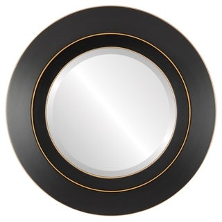 Veneto Framed Round Mirror in Rubbed Black