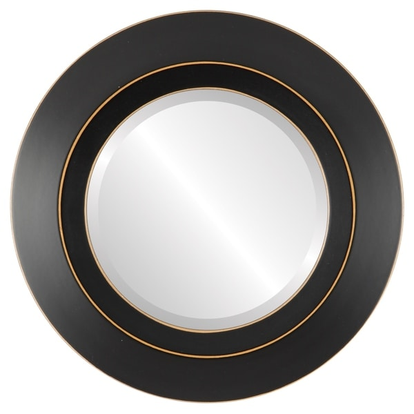Veneto Framed Round Mirror in Rubbed Black. Opens flyout.