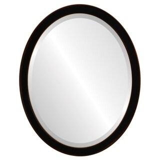 Manhattan Framed Oval Mirror in Rubbed Black