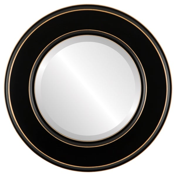 Marquis Framed Round Mirror in Rubbed Black