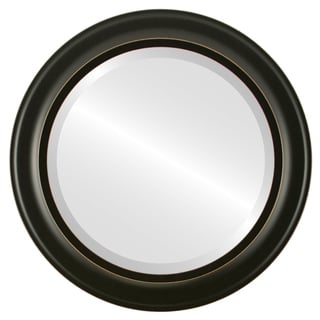 Messina Framed Round Mirror in Rubbed Black