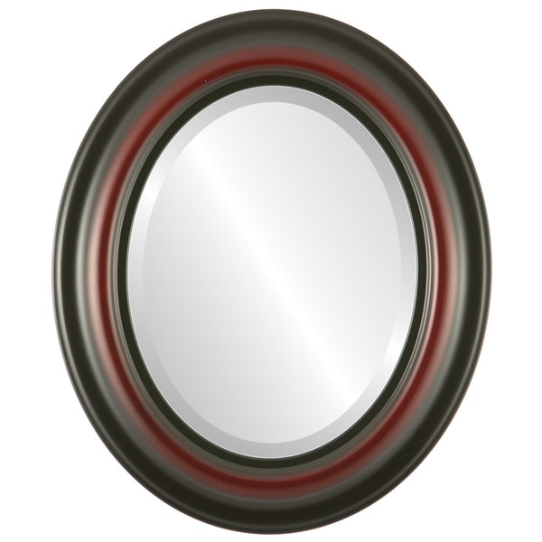 Lancaster Framed Oval Mirror in Rosewood - Red