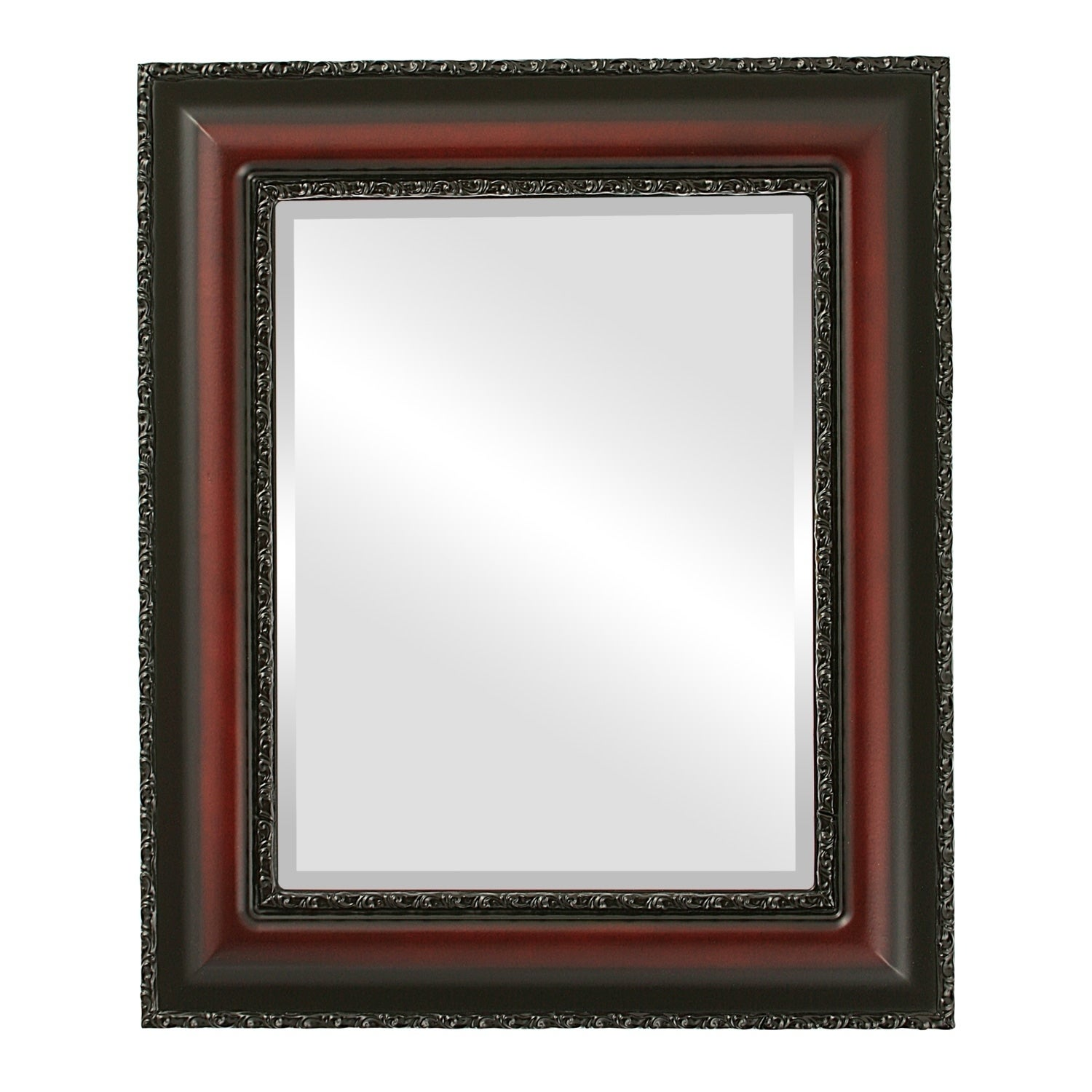 Somerset Framed Rectangle Mirror in Rosewood - Red (Large (over 32 high) - 29x41)