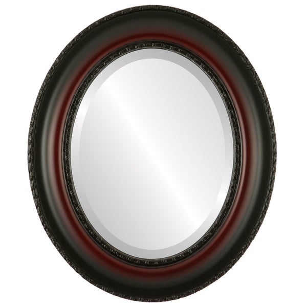 Somerset Framed Oval Mirror in Rosewood - Red