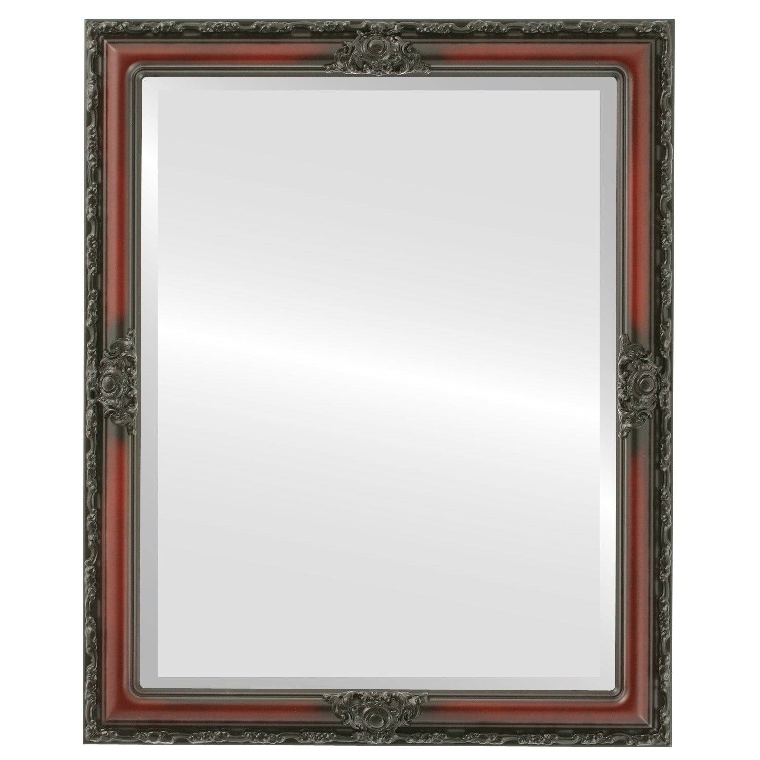 Jefferson Framed Rectangle Mirror in Rosewood - Red (Medium (15-32 high) - 24x30)