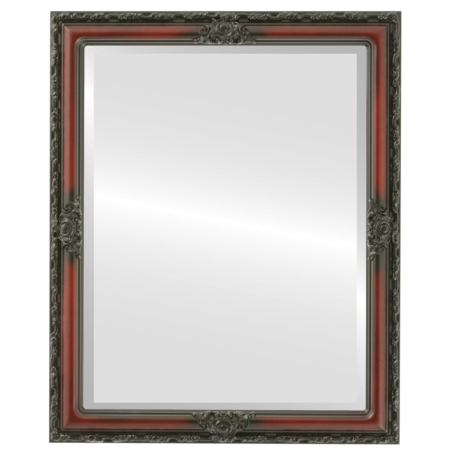 Jefferson Framed Rectangle Mirror in Rosewood - Red (Medium (15-32 high) - 26X32)