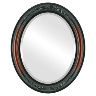Florence Framed Oval Mirror in Rosewood - Red