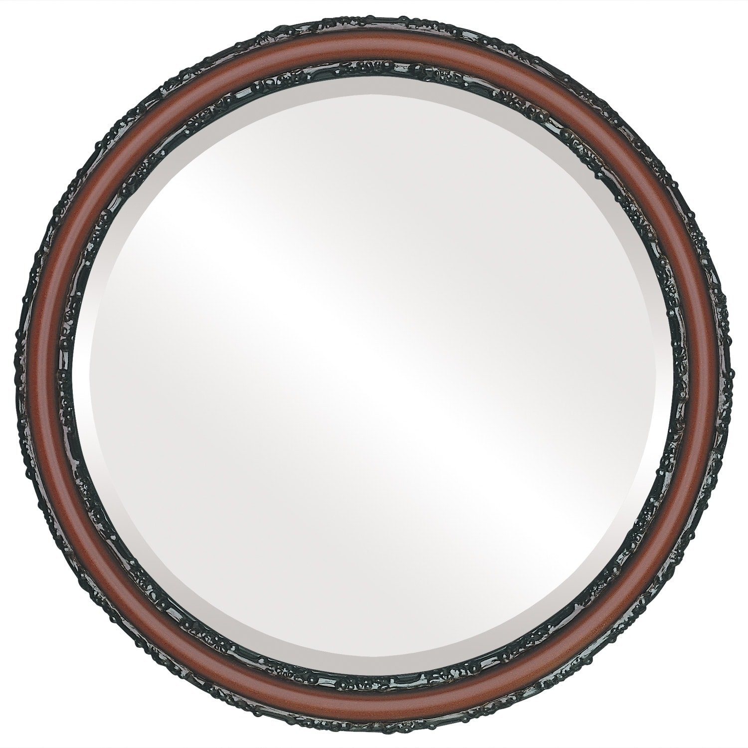 Virginia Framed Round Mirror in Rosewood - Red (25x25)