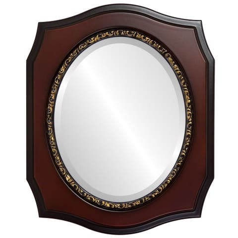 San Francisco Framed Oval Mirror in Rosewood - Red - 19x23