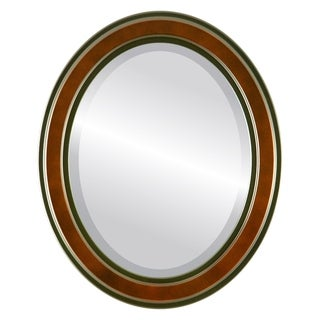 Wright Framed Oval Mirror in Rosewood - Red