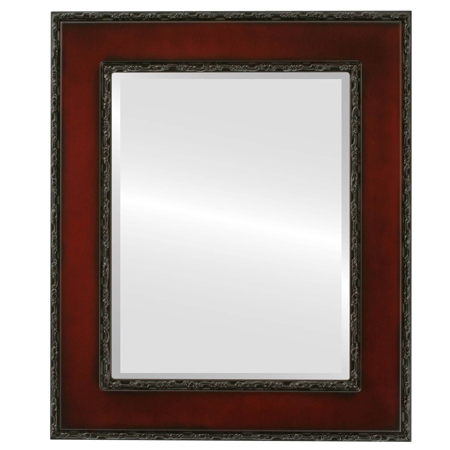 Paris Framed Round Mirror in Rosewood - Red (Medium (15-32 high) - 17x21)