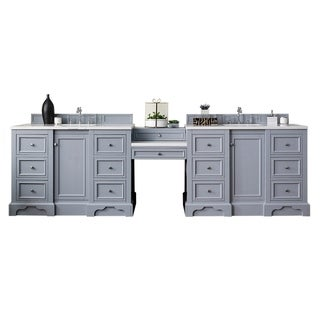 "De Soto 118"" Double Vanity Set, Silver Gray with Makeup Table, 3 CM Arctic Fall Solid Surface Top"