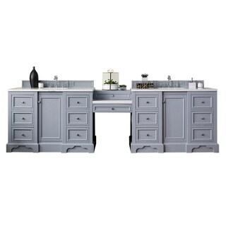 """De Soto 118"""" Double Vanity Set, Silver Gray with Makeup Table, 3 CM Snow White Quartz Top"""