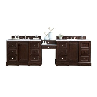 "De Soto 118"" Double Vanity Set, Burnished Mahogany with Makeup Table, 3 CM Carrara Marble Top"