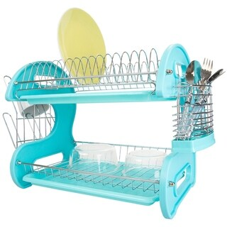 Sweet Home Collection 2-Tier Dish Drainer (Turquoise)