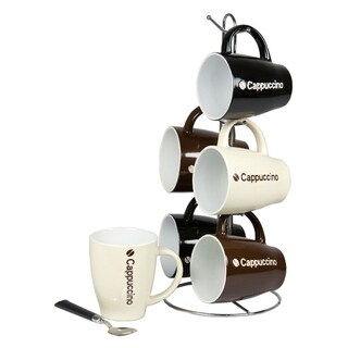 Sweet Home Collection 6-Piece Cappuccino Mug With Stand
