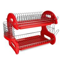 Sweet Home Collection 2-Tier Dish Drainer (Red)