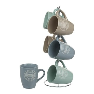 Sweet Home Collection 6-Piece Coffee Mug with Stand