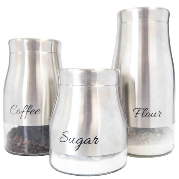 Shop Sweet Home Collection Stainless Steel 3 Piece Canister Set