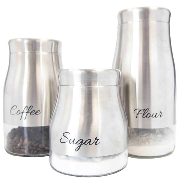 Sweet Home Collection Stainless Steel 3 Piece Canister Set Coffee Sugar Flour Overstock 20685667
