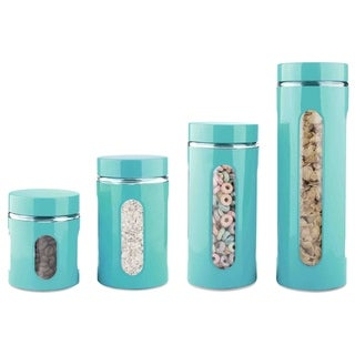 Sweet Home Collection 4-Piece Canister Set (Turquoise)