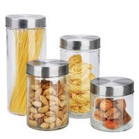Sweet Home Collection Glass 4-Piece Canister Set with Stainless Steel Tops