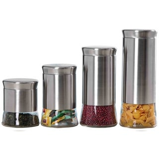 Sweet Home Collection Stainless Steel and Glass 4-Piece Canister Set