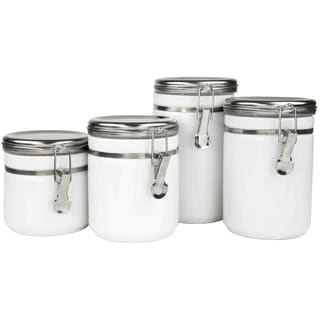 Sweet Home Collection 4-Piece Ceramic Canister Set with Stainless Steel Tops (White)