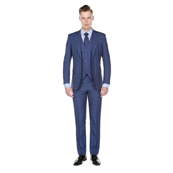 Gino Vitale Plaid Check Modern Fit 3 Piece Suits