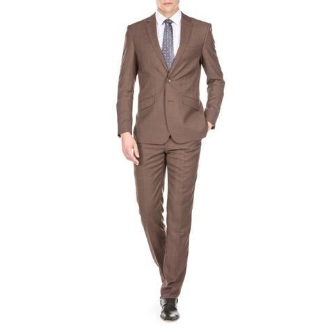 Gino Vitale Men's Light Glen Check Slim Fit 2 Piece Suit