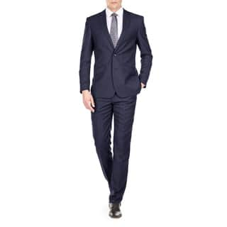Gino Vitale Men's Light Glen Check Slim Fit 2 Piece Suit