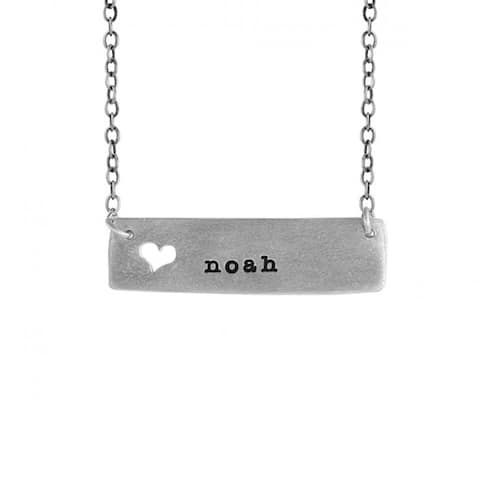 """noah Name Necklace - noah Cutout Heart Name Necklace in Sterling Silver Includes 18"""" Chain"""