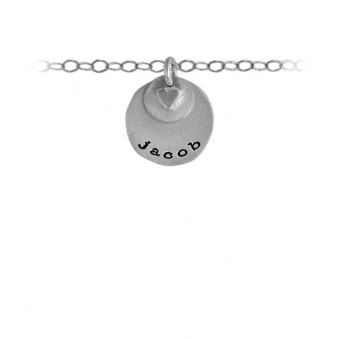 """jacob Name Necklace - jacob Puffed Heart Name Necklace in Sterling Silver Includes 18"""" Chain"""