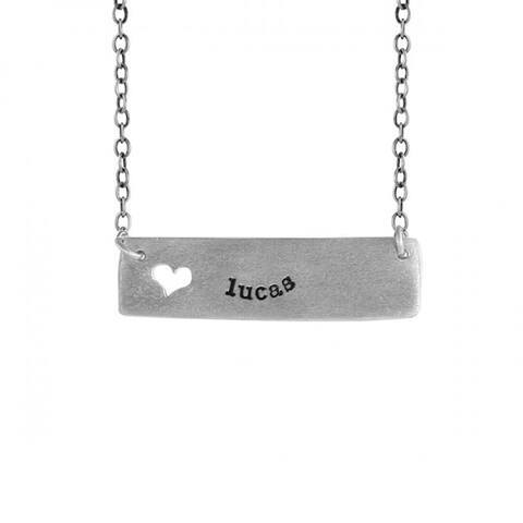 """lucas Name Necklace - lucas Cutout Heart Name Necklace in Sterling Silver Includes 18"""" Chain"""
