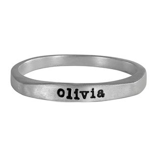 Sterling Silver Flat Top Ring Hand Stamped with olivia