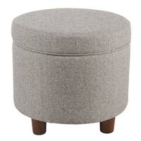 Silver Orchid Russon Light Gray Tweed Round Storage Ottoman