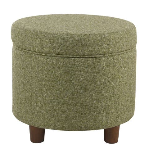 Porch & Den Parkchester Green Tweed Round Storage Ottoman