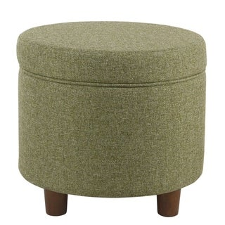 Link to Porch & Den Parkchester Green Tweed Round Storage Ottoman Similar Items in Dining Room & Bar Furniture