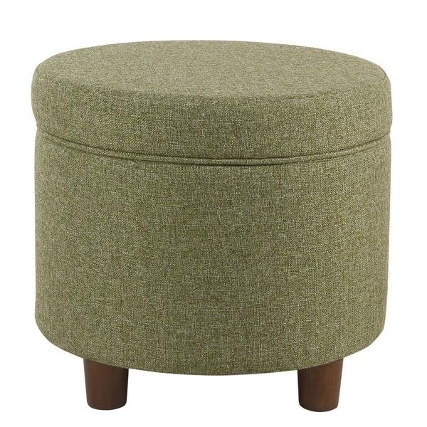 HomePop Round Storage Ottoman - Green Tweed