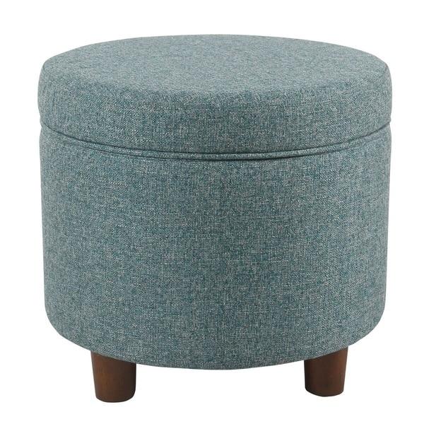 HomePop Round Storage Ottoman - Teal Tweed