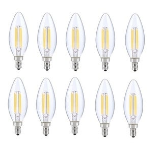 Juniper Supply LED E12 Candelabra Blunt Tip Light Bulbs 10 Pack, 5000K, 300°, CRI80, 6W
