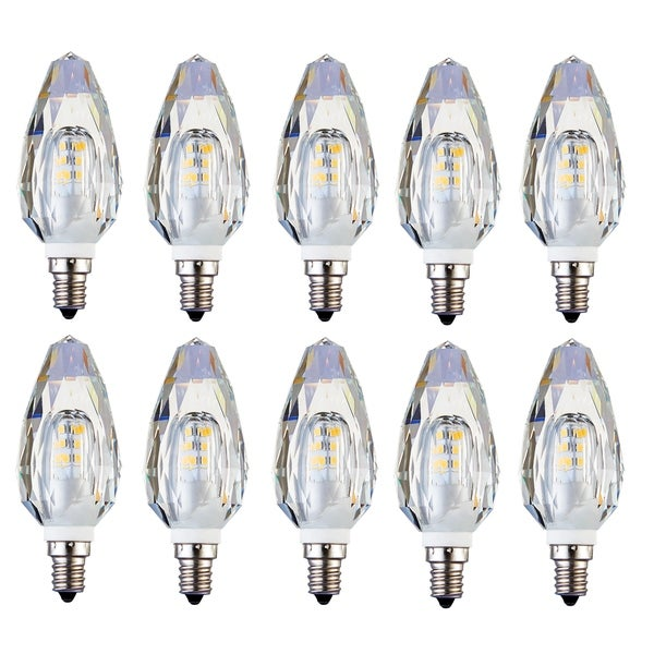 Juniper Supply LED E12 Crystal Candelabra Light Bulbs 10 Pack, 2500K, 280°, CRI80, 2W - Clear Crystal