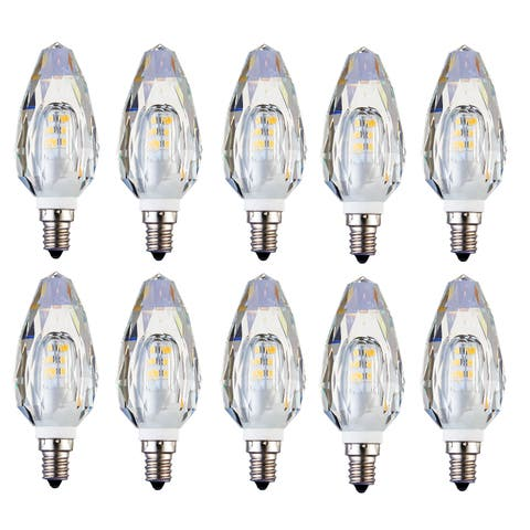 Juniper Supply LED E12 Crystal Candelabra Light Bulbs 10 Pack, 2500K, 280°, CRI80, 2W