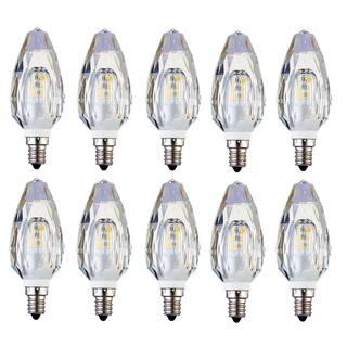 Juniper Supply LED E12 Crystal Candelabra Light Bulbs 10 Pack, 2500K, 280°, CRI80, 2W