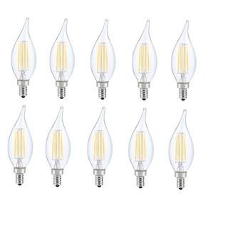 Juniper Supply LED E12 Candelabra Flame Tip Light Bulbs 10 Pack, 3000K, 300°, CRI80, 6W