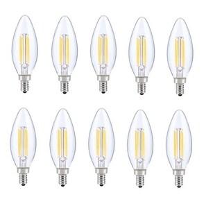 Juniper Supply LED E12 Candelabra Blunt Tip Light Bulbs 10 Pack, 2700K, 300°, CRI80, 6W