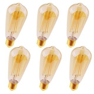 Juniper Supply LED ST18 Amber Glass Light Bulbs 6 Pack, 2200K, 360°, CRI80, 3.5W
