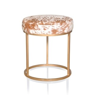 Nordic Accent Stool Brown/White Hide