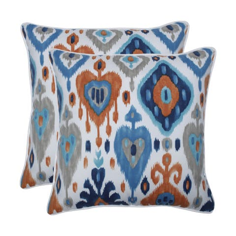 Pillow Perfect Outdoor / Indoor Paso Azure Blue 18.5-inch Throw Pillow (Set of 2)